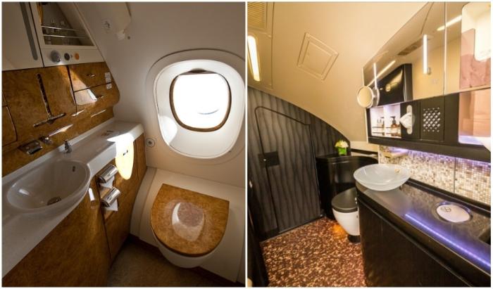 Туалетные комнаты для пассажиров бизнес-класса и экономичного (Airbus А-380 Etihad).
