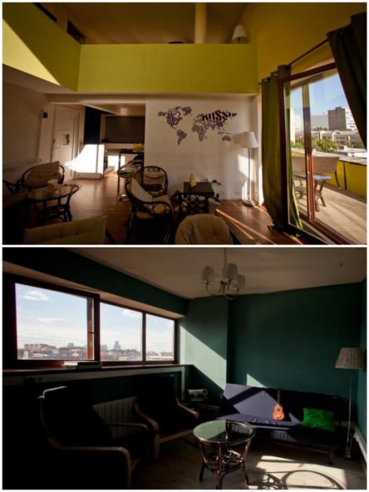 Все квартиры в жилом комплексе «Дом Наркомфина», кроме комнат общежития, были двухъярусными.