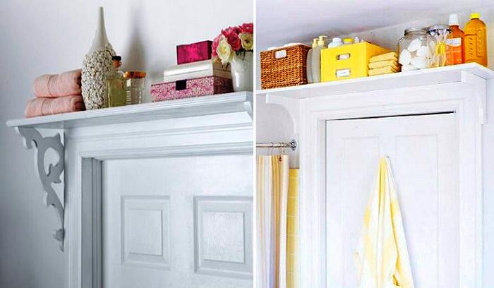 Полки помогут использовать пространство над дверями.