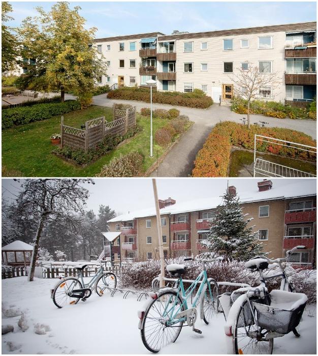 Дворы предназначены лишь для отдыха жильцов, поэтому разрешается установка только велосипедных парковок.