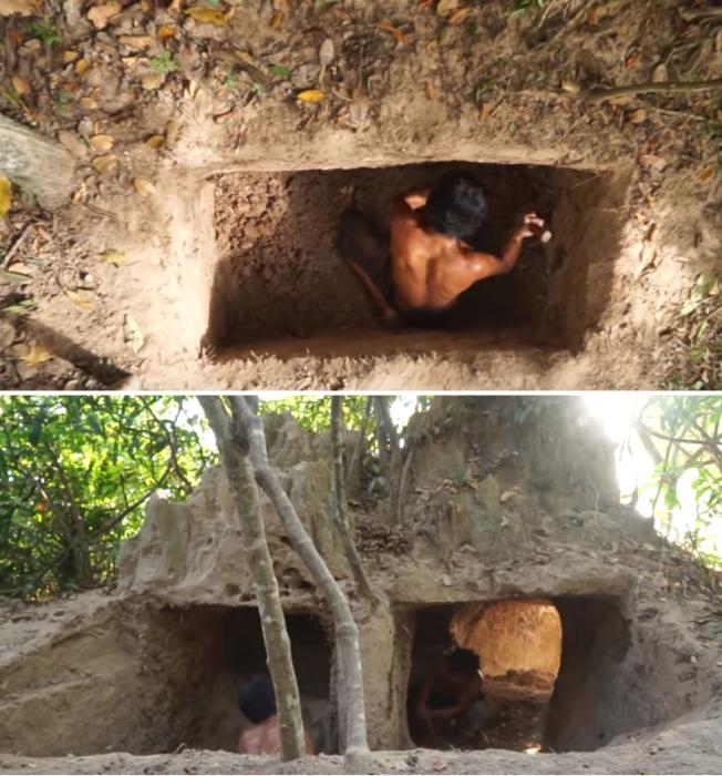 Подземный бассейн выкопали примитивным инструментом. | Фото: youtube.com/ © Jungle Builder.
