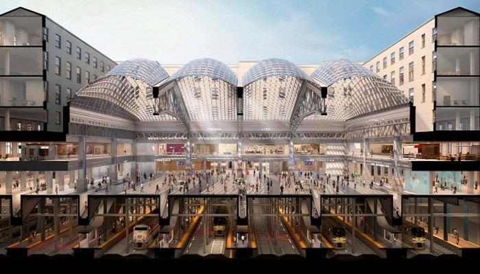 Платформы и железнодорожное полотно расположены на двух подземных уровнях (Центральный вокзал Нью-Йорка).