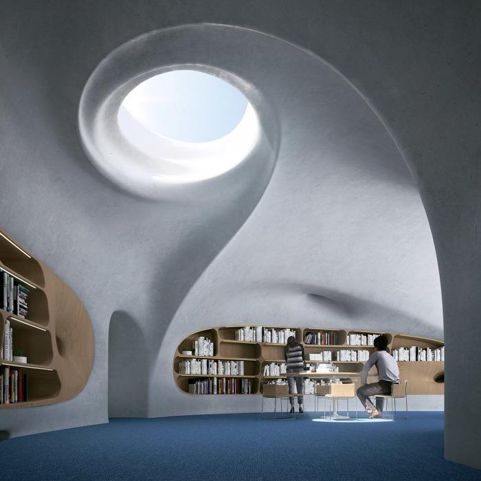 Читальные залы займут львиную долю внутреннего пространства «Wormhole Library» (концепт, Китай). | Фото: worldarchitecture.org/ © MAD Architects.