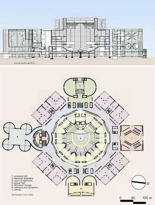 Чертеж-схема Национальной Ассамблеи в Дакке (Бангладеш). | Фото: coisasdaarquitetura.wordpress.com.