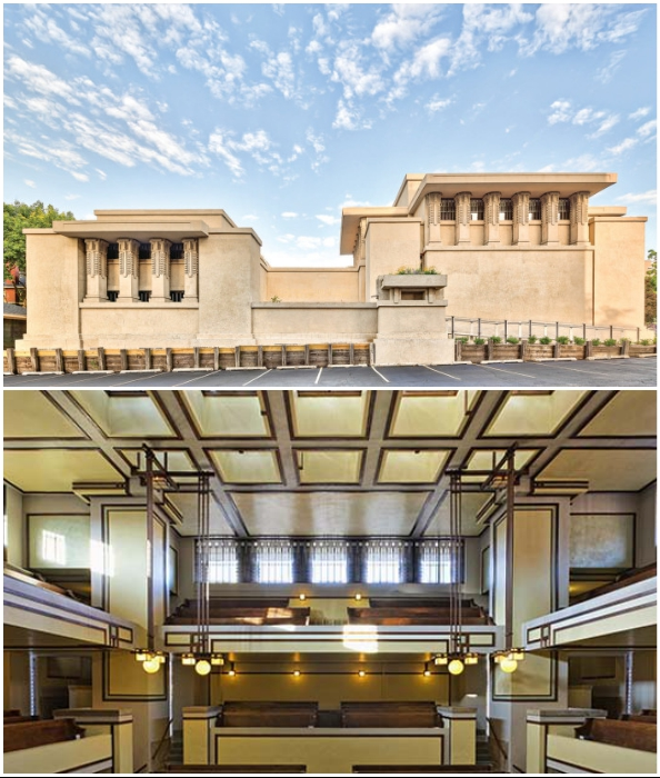 Даже для создания религиозных сооружений Райт предпочитал использовать стиль прерий (Храм Единства в Оук-Парк, 1906-1908 гг.).