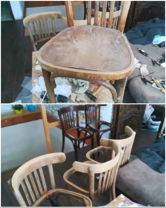 В таком плачевном состоянии были стулья до начала реставрации.