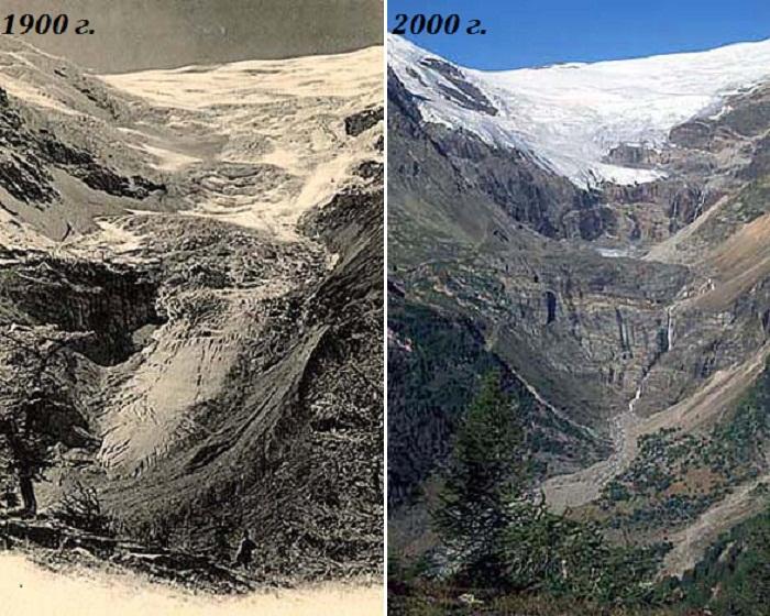 Состояние ледника на горном массиве Бернина с разницей в 100 лет (Швейцарские Альпы). gletscherarchiv.de/ © Коллекция Общества экологических исследований, автор Сильвия Хамбергер.