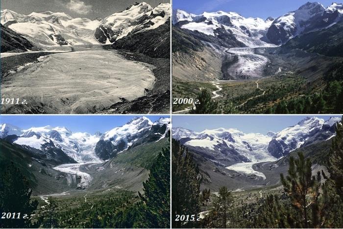 Катастрофически быстрое уменьшение площади ледового поля на кантоне Grigioni (Швейцарские Альпы). | Фото: gletscherarchiv.de/ © Коллекция Общества экологических исследований, автор Сильвия Хамбергер.