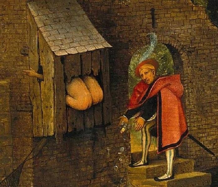 Процесс дефекации на картине средневекового художника (Питер Брейгель, середина XVI столетия). | Фото: bigpicture.ru.