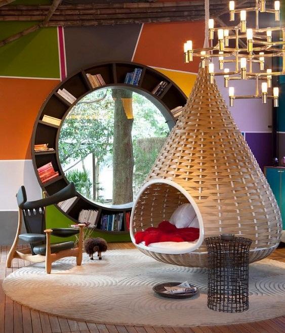 Как оригинально можно оформить библиотеку и место для чтения книг.