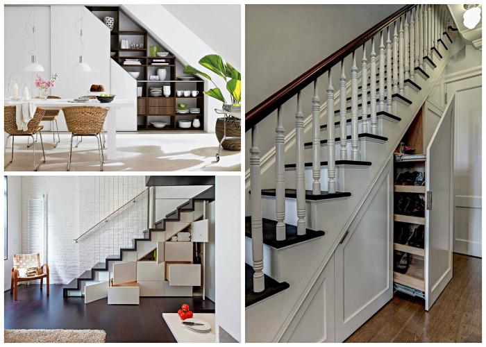 Пространство под лестницей нужно использовать по полной.