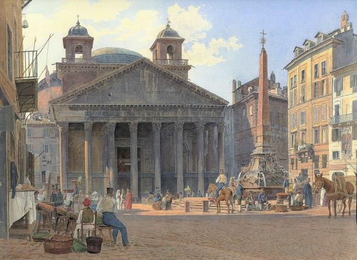 Только раз в году солнечные лучи изнутри храма освещали решетку у входа в Пантеон (Jakob Alt, 1836 г.). | Фото: ru.wikipedia.org.