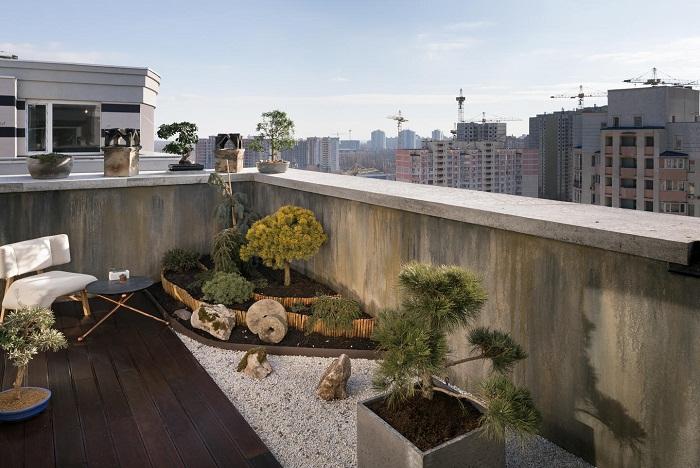 Терраса с зоной отдыха и зимним садом выращенного в стиле Бонсай (Wabi Sabi Apartment).