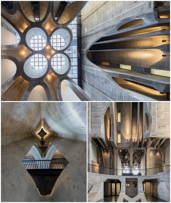 Выставочные площадки, вестибюли и переходы сами по себе являются произведением искусства (MOCAA, ЮАР).