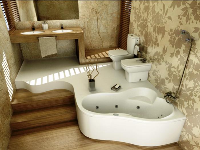 Интересный вариант оформления ванной комнаты с установкой подиума.   Фото: v.3bir.ne.