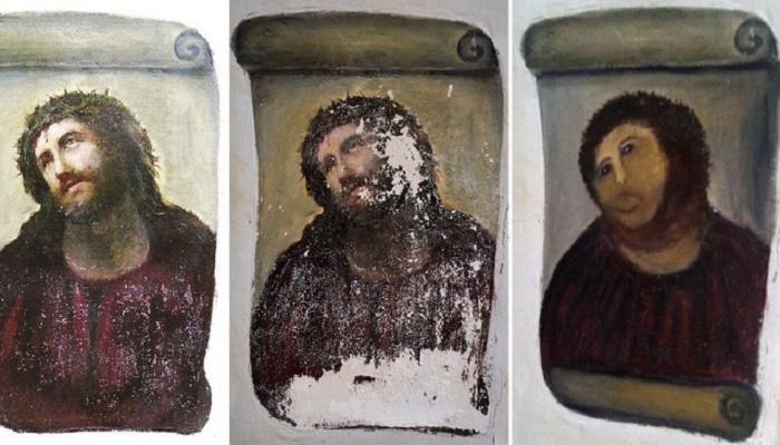 Теперь вместо Иисуса Христа в терновом венце на прихожан смотрит «Пушистый Иисус», больше похожий на снежного человека. | Фото: pikabu.ru