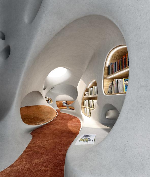 Для любителей уединения и чтения в тишине создадут небольшие ниши с индивидуальными пространствами. | Фото: worldarchitecture.org/ © MAD Architects.