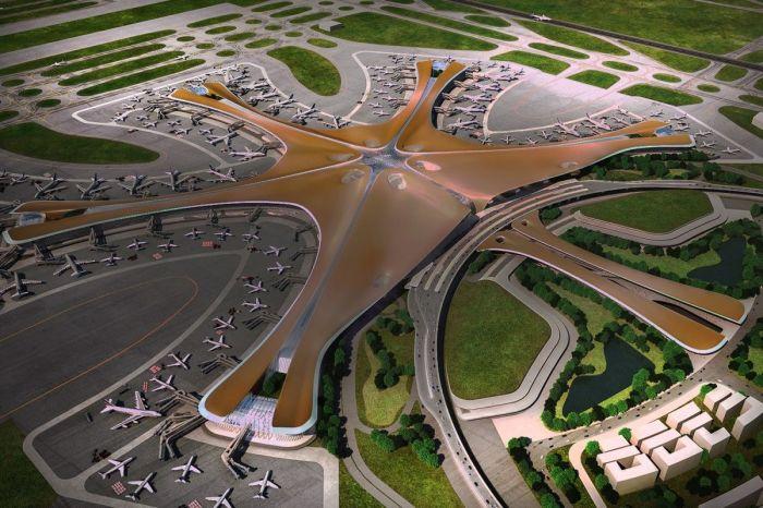 Концепт самого большого в мире аэропорта, разработанный архбюро Захи Хадид (Пекин, Китай). | Фото: unian.net.