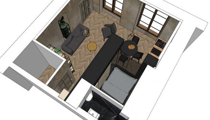 Схема расположения всех зон в преображенной маленькой квартире (Проект Batiik Studio). | Фото: cpykami.ru.
