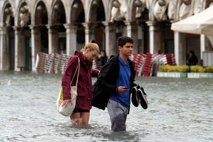 Затоплена историческая часть Венеции.