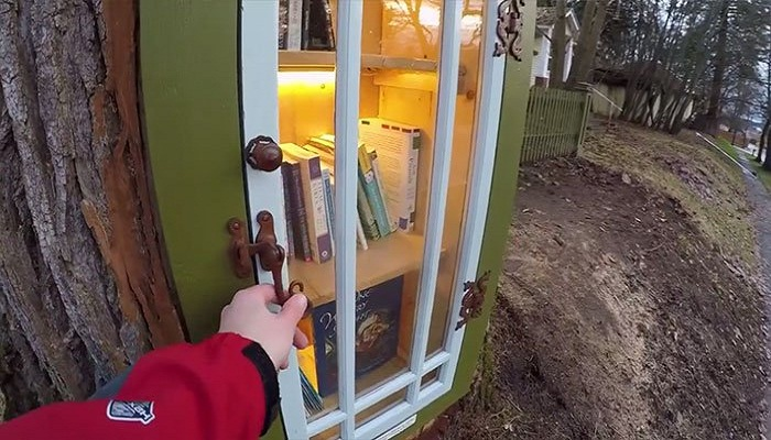 Библиотека уже очень популярна у соседей и обычных прохожих (Кер-д'Ален, США). | Фото: bugaga.ru.
