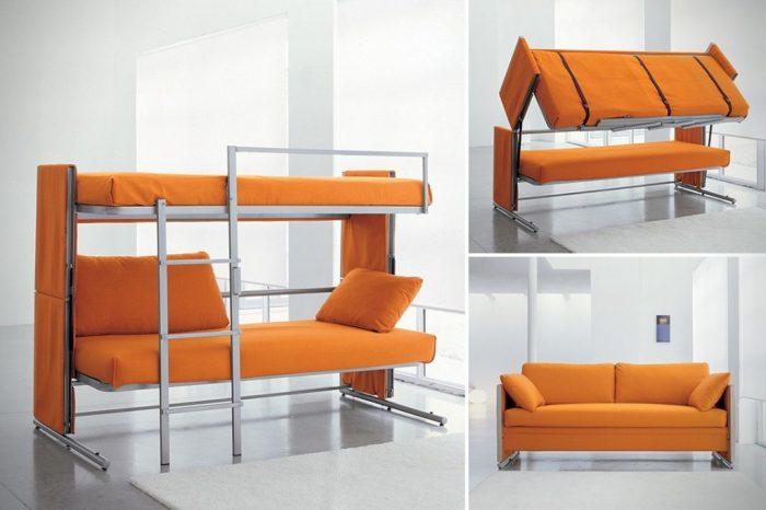 Диван может трансформироваться в двухъярусную кровать. | Фото: poztelio.com.