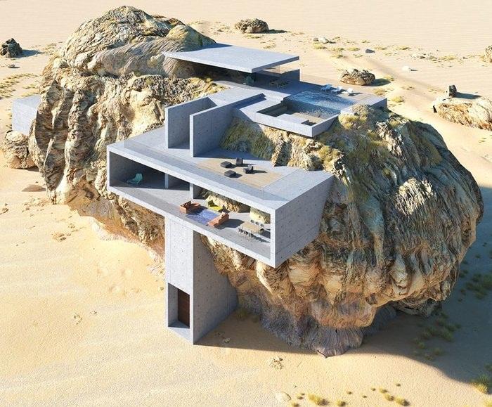 Лишь с высоты птичьего полета можно увидеть переплетение бетона и камня («Дом внутри скалы», визуализация Амея Кандалгаонкара). | Фото: pikabu.ru.