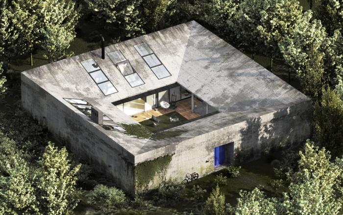 Вот такой дом-мечты без людей и в окружении книг создал азербайджанский архитектор Эльмир Гусейнов.   Фото: 3ddd.ru.