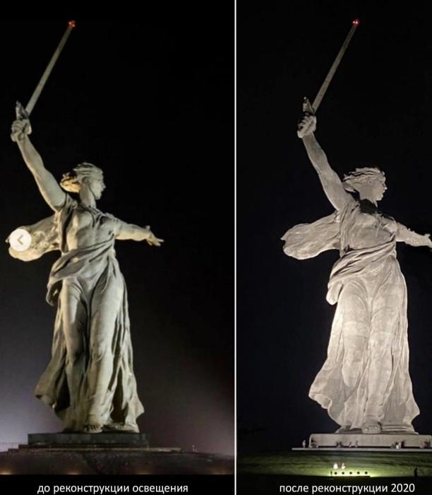 Сравнение освещения монумента до и после реставрации («Родина-мать зовет!», Волгоград). | Фото: pikabu.ru.