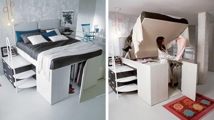 Креативное решение оформления квартиры с помощью многофункциональной мебели. | Фото: homsk.com.