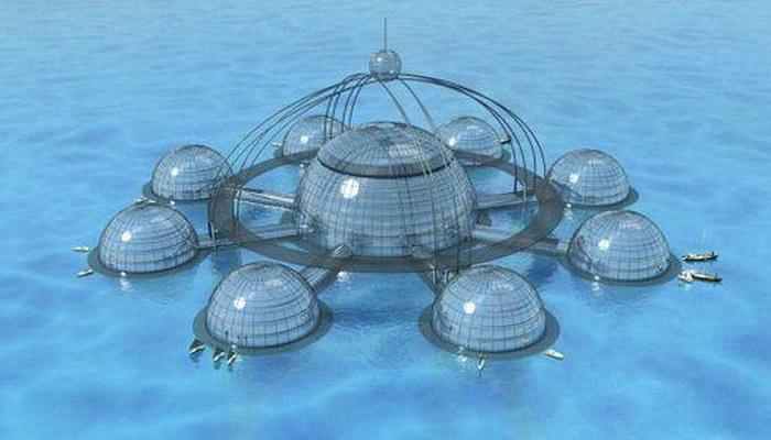 Sub Biosphere 2 – самодостаточный город может плавать на поверхности или погружаться в глубины океана (проект британца Фила Поли). | Фото: art-dubina.ucoz.ru.