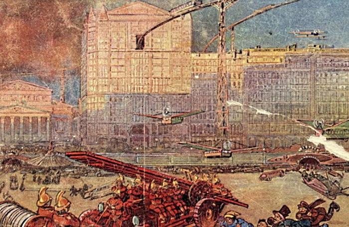 Команда пожарных мчит по мостовой Москвы и обязательно успеет спасти людей. | Фото: moya-planeta.ru.