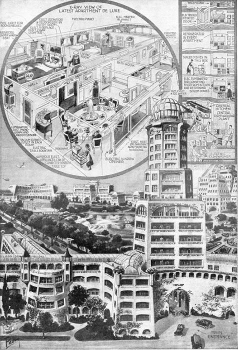 Художник-футурист Фрэнк Р. Пауль изобразил благоустроенные квартиры и дома, в которых будут жить люди в 2000 г. | Фото: interestingengineering.com.