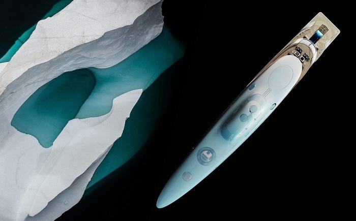 Так выглядит суперяхта длиной 112 м, состоящая из 5 палуб с высоты птичьего полета (концепт «AQUA»). | Фото: breakingnews.ws © Sinot Yacht.