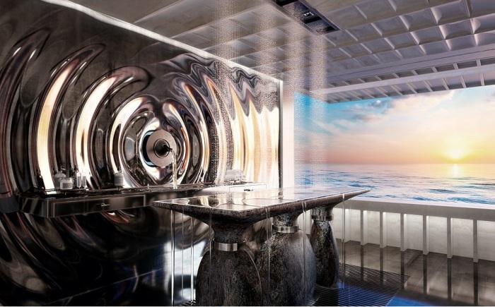 Рядом с тренажерным залом находится комната гидромассажа (концепт «AQUA»). | Фото: breakingnews.ws, © Sinot Yacht.