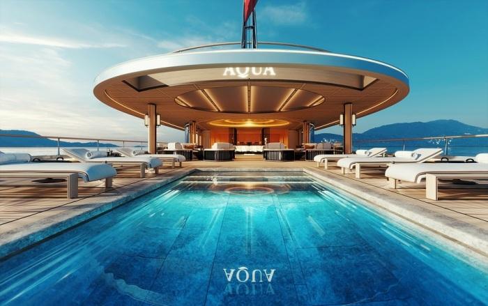 Футуристический дизайн суперяхты и ее экологичность должны стать законодателями моды (концепт «AQUA»). | Фото: breakingnews.ws/ © Sinot Yacht.