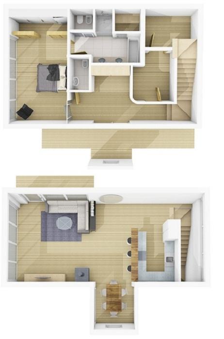 План расположения комнат на двух этажах Mi Chalet (курорт La Villa, Mi Chalet). | Фото: decomyplace.com/ © Luca Visciani.