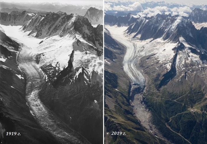 Фото ледника Argentiere сделанное Миттельхольцером в 1919 г. и Кираном Бакстером в 2019 г. (Швейцарские Альпы). | Фото: dundee.ac.uk/ ©University of Dundee.