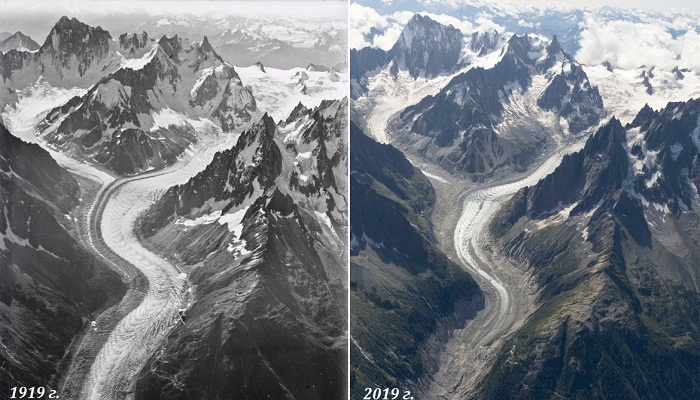 Ледник Мер де Глас в 1919 и 2019 гг. (Фото Walter Mittelholzer, ETH-Библиотека Цюриха / Dr. Kieran Baxter, University of Dundee). | Фото: dundee.ac.uk.