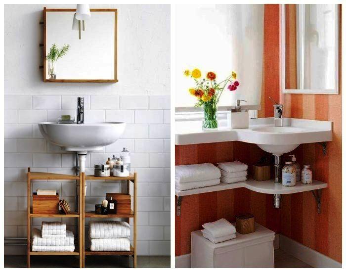 Грамотное использование пространства под рукомойником поможет пристроить массу нужных вещей. | Фото: kaksekonomit.com.