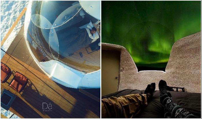 Отель предлагает отдых в единственных в Северной Америке иглу с прозрачной крышей (Borealis Basecamp, Аляска).