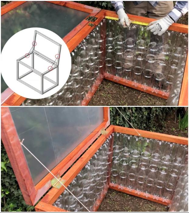 Крышку обтянуть пленкой, закрепить с помощью петель и установить фиксаторы в виде веревки.