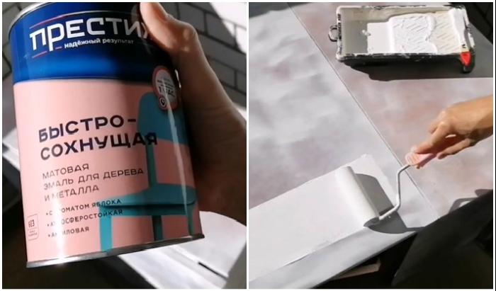 Краску на поверхность стола лучше наносить поролоновым валиком.
