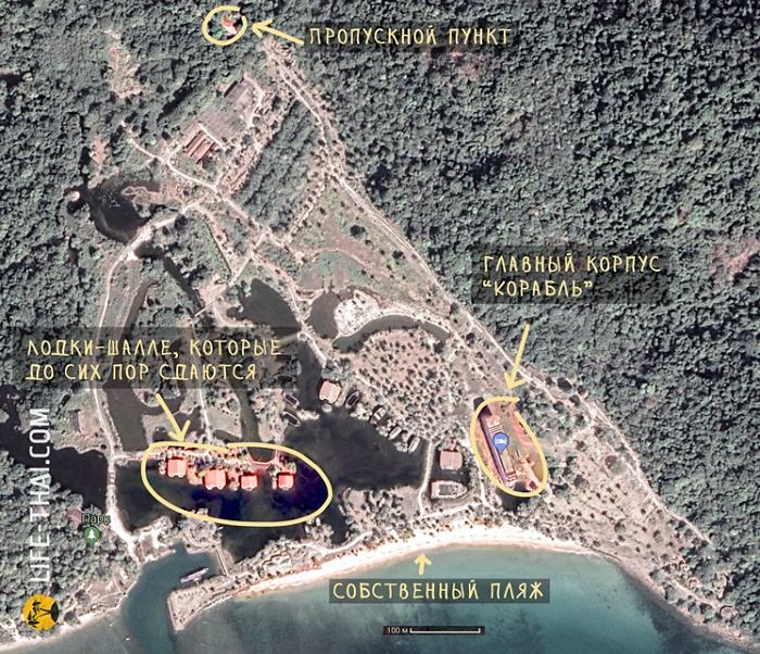 Бывалые туристы делятся картой-маршрутом, где что расположено на 60 га заброшенной территории. | Фото: life-thai.com.