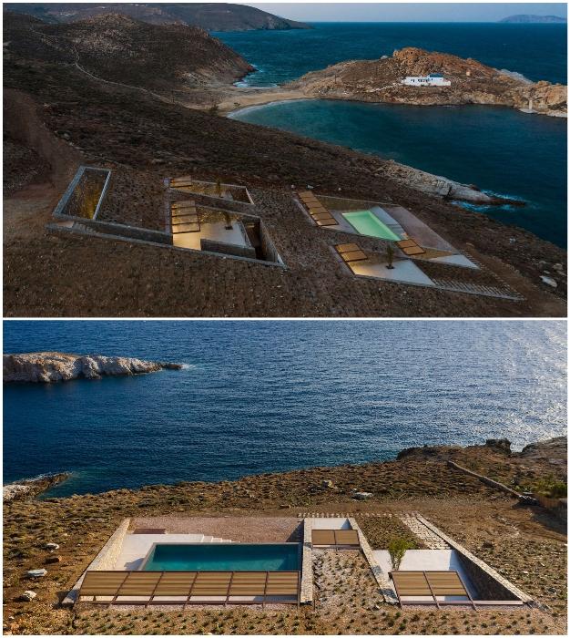 Так выглядит резиденция, интегрированная в скалистый ландшафт бухты с высоты птичьего полета (Ncaved House, Греция).