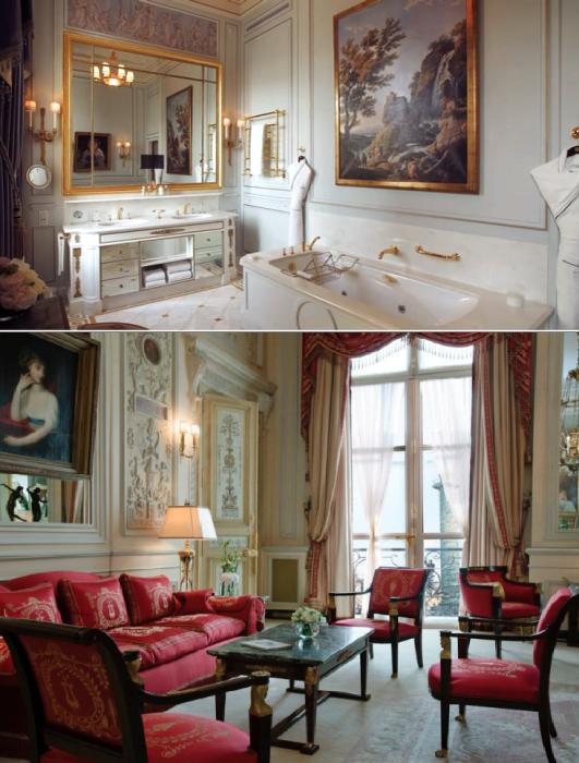 Площадь роскошного королевского люкса составляет 250 кв. м (Suite Impеriale, Ritz Paris).