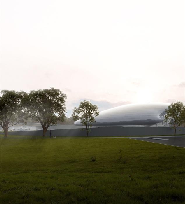 При взгляде издалека, здание похоже на «облако, плывущее в лесу» (концепт Aranya Cloud Center). | Фото: archdaily.com.