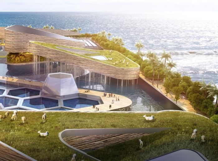 В «плавающем» городе будут свои фермы (концепт «Eco Atlantis»). | Фото: medium.com.