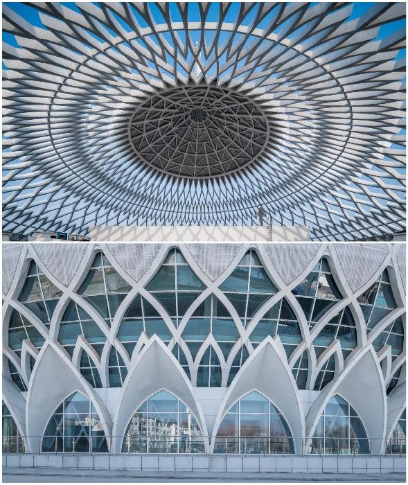 Фактурная оболочка здания в виде геометрического рисунка сделана из алюминия (Linxia Grand Theater, Китай).