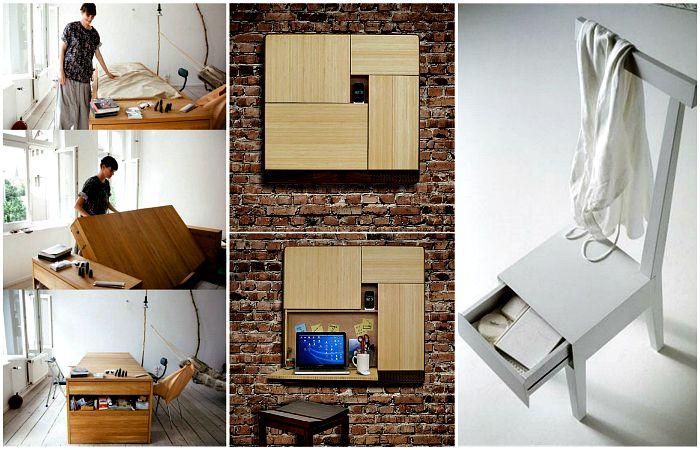 Эргономичная и многофункциональная мебель для небольших пространств. | Фото: pinterest.com.